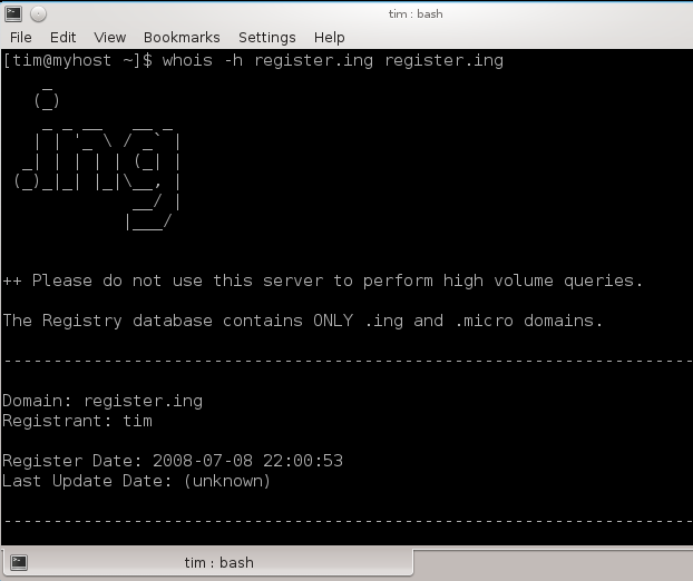 .ing whois server screenshot. ++ Please do not use this server to perform high volume queries. The Registry database contains ONLY .ing and .micro domains.