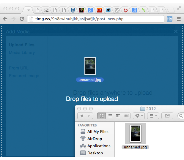Drop files anywhere to upload